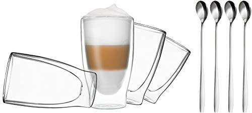 DUOS 4X 400ml doppelwandige Gläser + 4 Löffel - Set Thermogläser mit Schwebe-Effekt, für Latte...