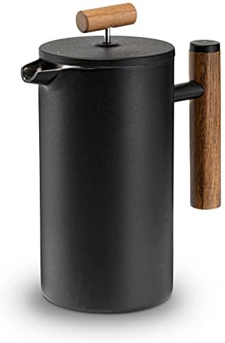Lambda Coffee French Press aus Edelstahl und Holz | 0,6 Liter (3 Tassen, klein) | für den perfekten...