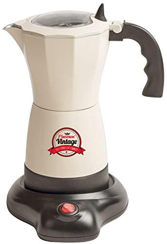 Bestron Elektrischer Espresso-Kocher mit Basis, Vintage, 6 Espressotassen, 480 Watt, Aluminium,...