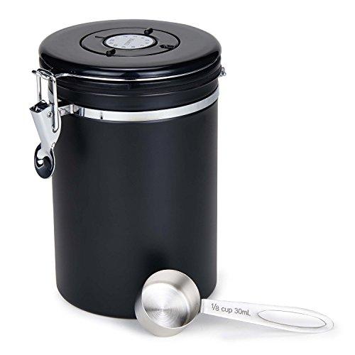 Kaffeedose Luftdicht Movaty Edelstahl Aromadose Vorratsdose Aromadicht Vakuum Kaffeebox mit Löffel...