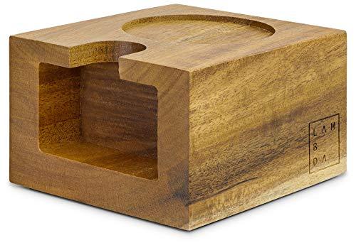 Lambda Coffee® Tamperstation 51-58mm für Barista aus Akazienholz, aus Holz zur Zubereitung mit...