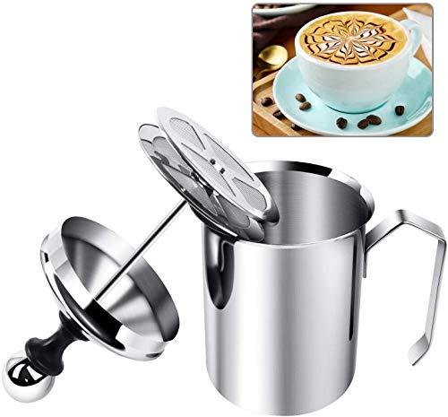 Yijiaoyun Milchaufschäumer Manuell, Milk Frother Mit Kaffee Latte, Milchschäumer Edelstahl Double...
