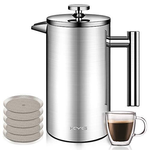 KYG Kaffeebereiter aus Edelstahl French Press System mit 5 Edelstahlfilter Doppelwandige...