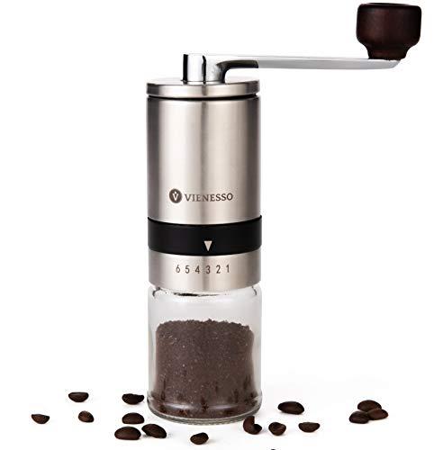 VIENESSO Kaffeemühle Manuell/Hand mit Keramikmahlwerk | manuelle Kaffee- und Espressomühle mit 6...