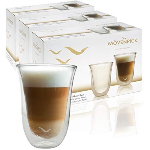 Mövenpick 6 x Latte Macchiato Gläser 300 ml - Spülmaschinengeeignete doppelwandige Gläser -...