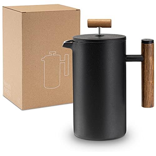 Lambda Coffee® French Press aus Edelstahl und Holz | 0,6 Liter (3 Tassen, klein) | für den...