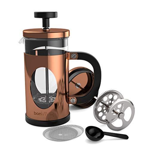 bonVIVO GAZETARO I French Press - Design-Kaffeebereiter in Kupfer-Optik - Kaffeekocher aus Glas mit...