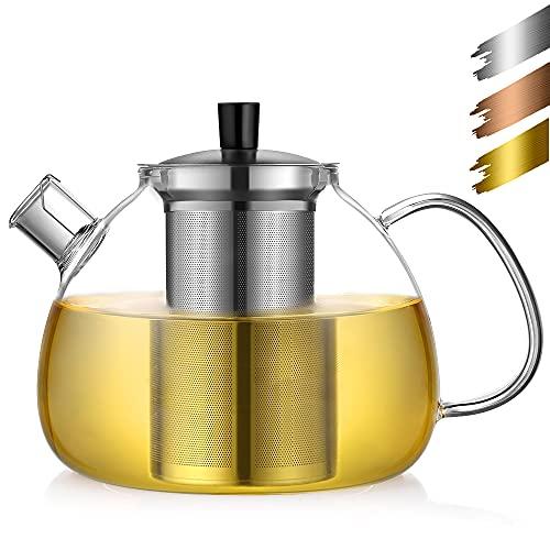 ecooe Original 1500ml Silberne Teekanne aus Glas Borosilikat Glas Teebereiter mit Abnehmbare 18/8...