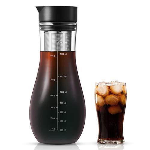 1,5L Kaffeebereiter für Cold Brew, Kaltbrüh-Kaffeemaschine mit luftdichtem Deckel...