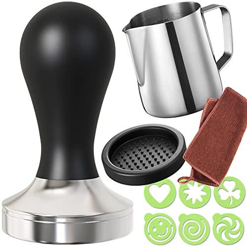 Practimondo 51mm Espresso Tamper Set inkl. Tampermatte und Milchkännchen (350ml) - Der Deluxe...