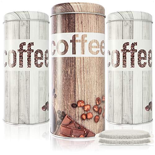 com-four® 3X Kaffeepaddose - Kaffeedose für Kaffeepads - Aufbewahrungsbehälter für Kaffeepads -...