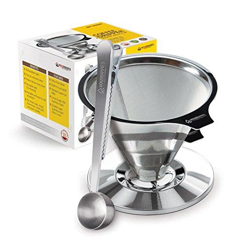 Housewares Solutions Edelstahl-Kaffeetropfer mit integriertem Beutelclip und Reinigungsbürste